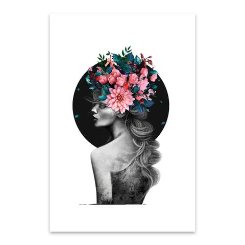 Noir Gallery Floral Botanical Girl Portrait Metal Wall Art Print