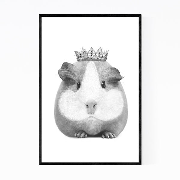 Noir Gallery Guinea Pig with Crown Animal Funny Framed Art Print