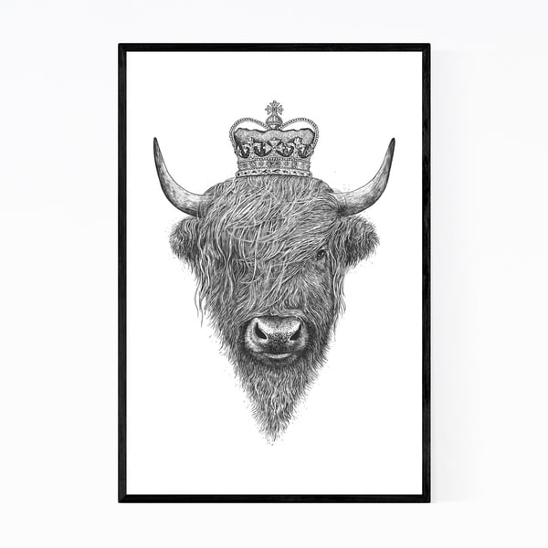 Noir Gallery Highland Cow with Crown Animal Funny Framed Art Print