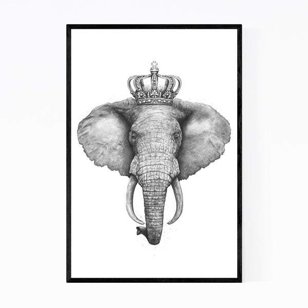 Noir Gallery Elephant with Crown Animal Funny Framed Art Print