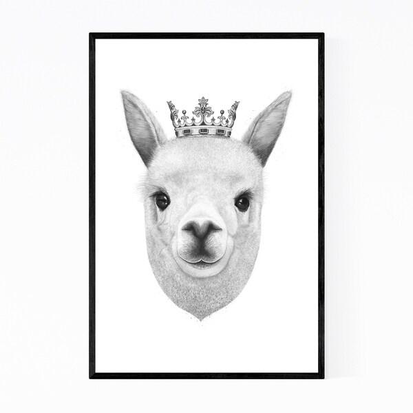 Noir Gallery Llama with Crown Animal Funny Framed Art Print