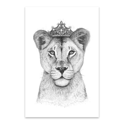Noir Gallery Lioness with Crown Animal Funny Metal Wall Art Print