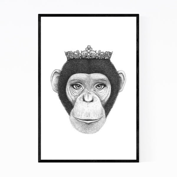 Noir Gallery Monkey with Crown Animal Funny Framed Art Print
