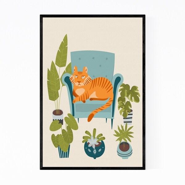Noir Gallery Tiger Animal Floral Botanical Framed Art Print