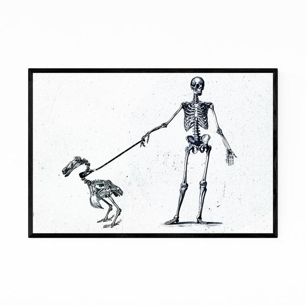 Noir Gallery Funny Skeleton Illustration Framed Art Print