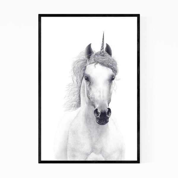 Noir Gallery White Unicorn Horse Animal Framed Art Print