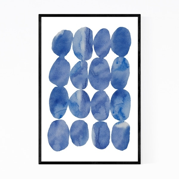 Noir Gallery Blue Stones Nature Watercolor Framed Art Print