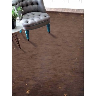 Solid Color Hand Knotted Area Rug Gabbeh Indian Modern Carpet Oriental