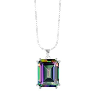 """Link to Sterling Silver with Mystic Topaz Solitaire Pendant with 18"""" Chain Similar Items in Necklaces"""