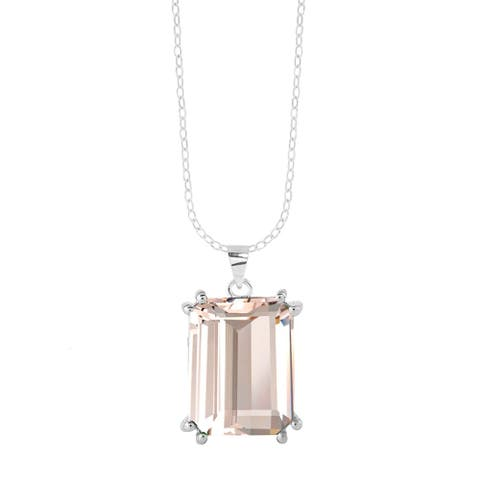 "Sterling Silver with Morganite Solitaire Pendant with 18"" Chain"