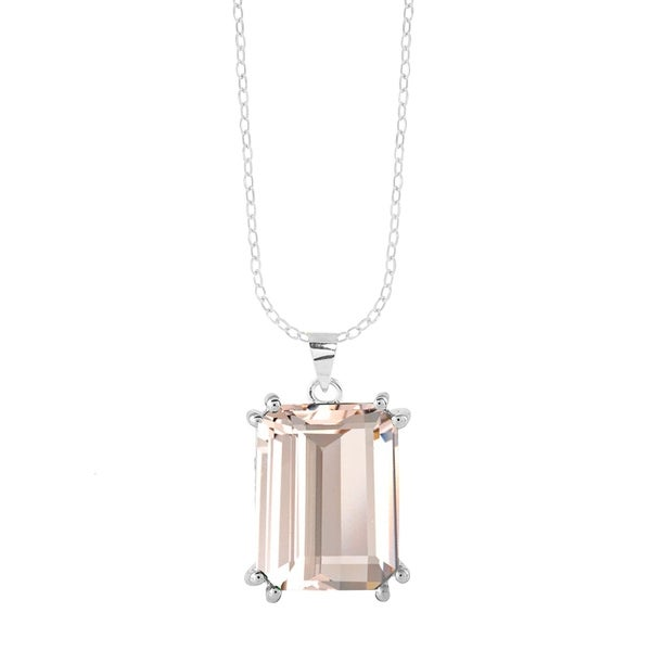 """Sterling Silver with Morganite Solitaire Pendant with 18"""" Chain. Opens flyout."""