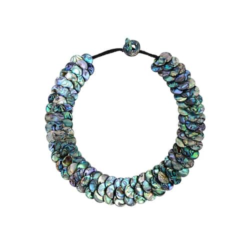 Coin Shape Abalone Shell Necklace Toggle Clasp