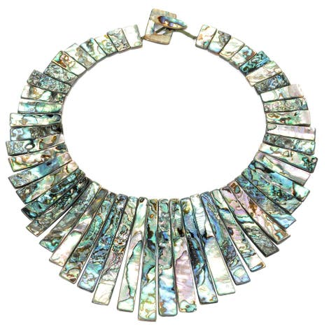 Fastens with Abalone Shell Statement Necklace Toggle Clasp
