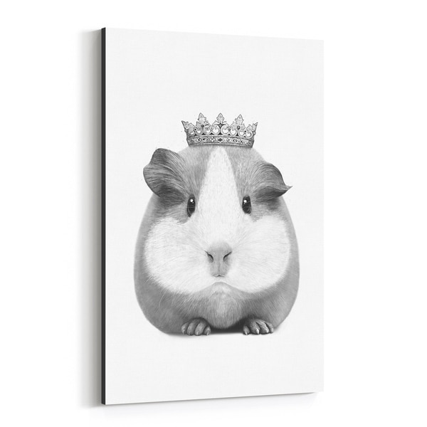 Noir Gallery Guinea Pig with Crown Animal Funny Canvas Wall Art Print