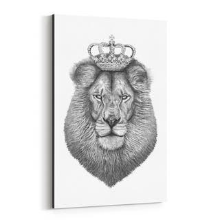 Noir Gallery Lion with Crown Animal Funny Canvas Wall Art Print