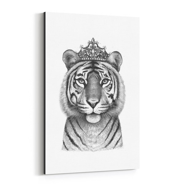 Noir Gallery Tiger with Crown Animal Funny Canvas Wall Art Print