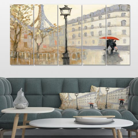 Designart 'Love in Paris V' Romantic French Country Canvas Art