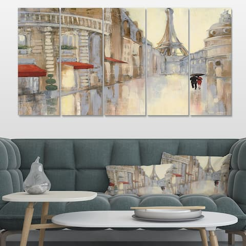 Designart 'Love in Paris III' Romantic French Country Premium Canvas Wall Art
