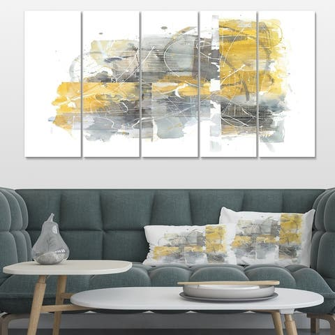 Designart 'Moving In and Out of Traffic II Yellow Grey' Geometric Canvas Artwork