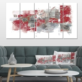 Designart 'Moving In and Out of Traffic I Red Grey' Geometric Canvas Art