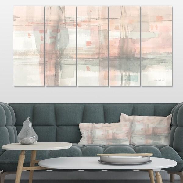 Designart 'Intersect II Grey' Pink Modern Premium Canvas Wall Art
