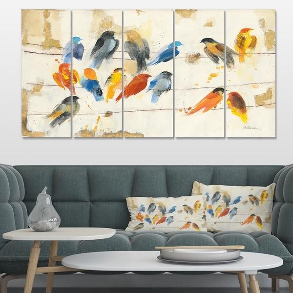 Designart 'Multicolor Bird Meeting' Traditional Animal Premium Canvas Wall Art