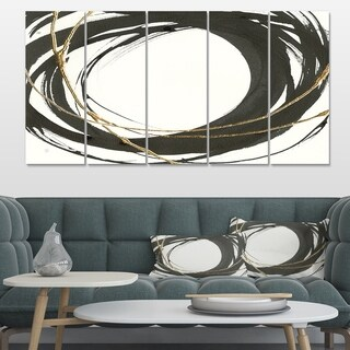 Designart 'Gold Glamour Circle II' Posh & Luxe Premium Canvas Wall Art