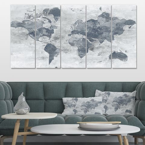 Designart 'Golden Grey World Neutral' Traditional Canvas Art