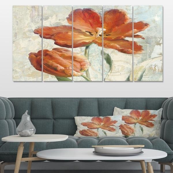 Designart 'Orange Parrot Tuplip' Traditional Gallery-wrapped Canvas