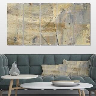 Designart 'Geometric Cream Block I' Modern Glam Premium Canvas Wall Art