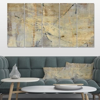 Designart 'Geometric Cream Block III' Modern Glam Canvas Artwork