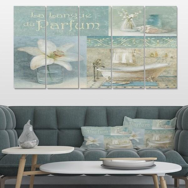 Designart 'Bathroom Lily Parfum Bath Story' Traditional Premium Canvas Wall Art