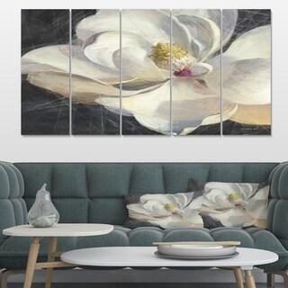 Designart 'Vivid White Magnolia IV' Shabby Chic Premium Canvas Wall Art