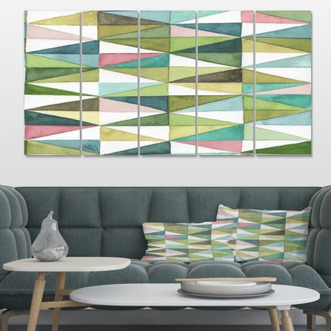 Designart 'Mixed Green Geometric Pattern II' Transitional Canvas Art