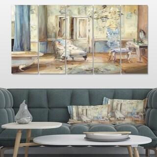 Designart 'French Boudoir Bath I' Traditional Bathroom Premium Canvas Wall Art