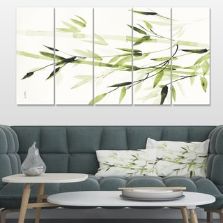 Designart 'Simplist Bamboo Leaves II' Lake House Canvas Artwork