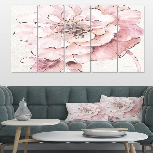 Designart 'Indigold Shabby Peonies Pink' Farmhouse Gallery-wrapped Canvas