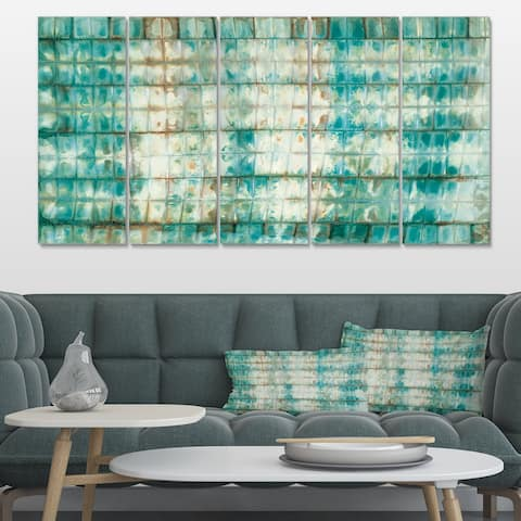 Designart 'Blue diamonds minimal geometric II' Transitional Canvas Artwork