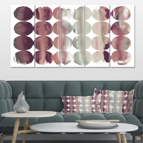 Designart 'Plum Dots minimal geometric I' Transitional Canvas Art
