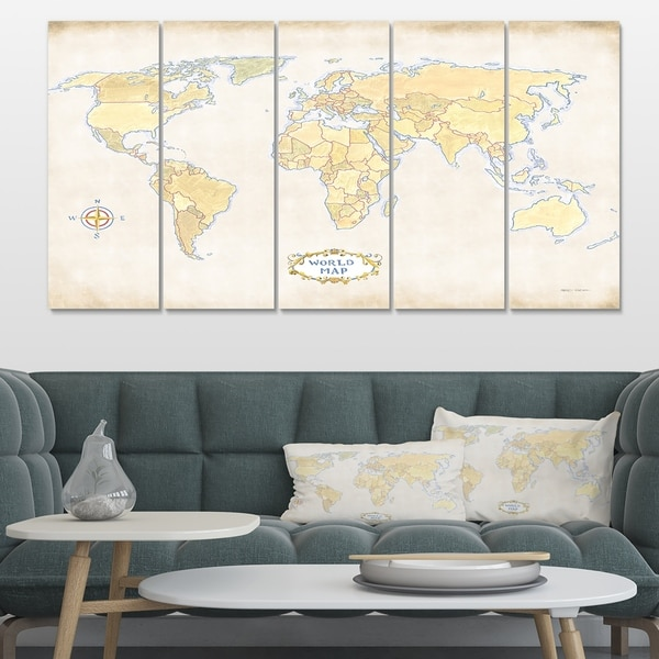 Designart 'World Trekker I Crop' Map Canvas Artwork