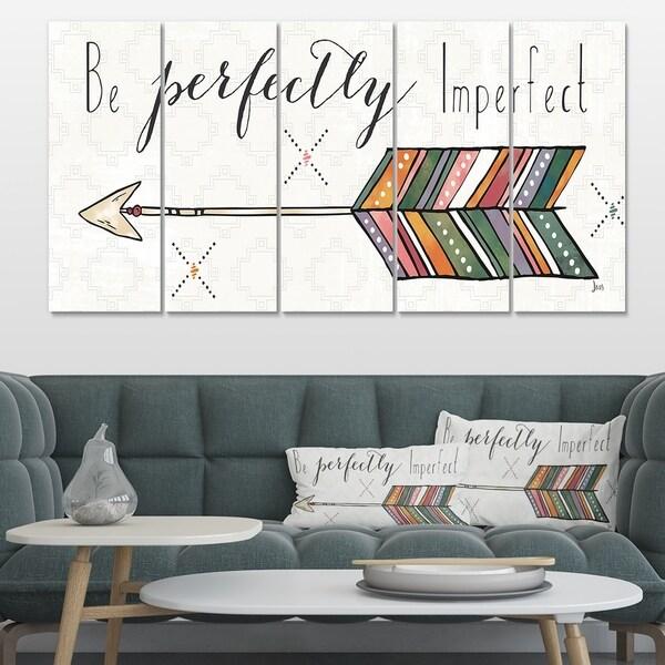 Designart 'Be perfectly imperfect Boho Arrow I' Bohemian & Eclectic Canvas Art