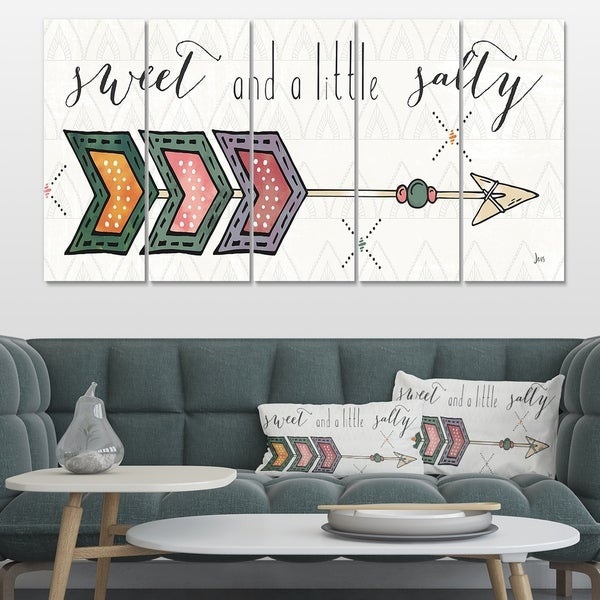 Designart 'sweet and a little guilty Boho Arrow II' Bohemian & Eclectic Premium Canvas Wall Art