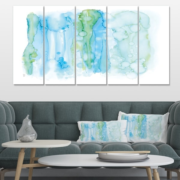 Designart 'Watercolor of Abstract Blue and Green' Modern Premium Canvas Wall Art