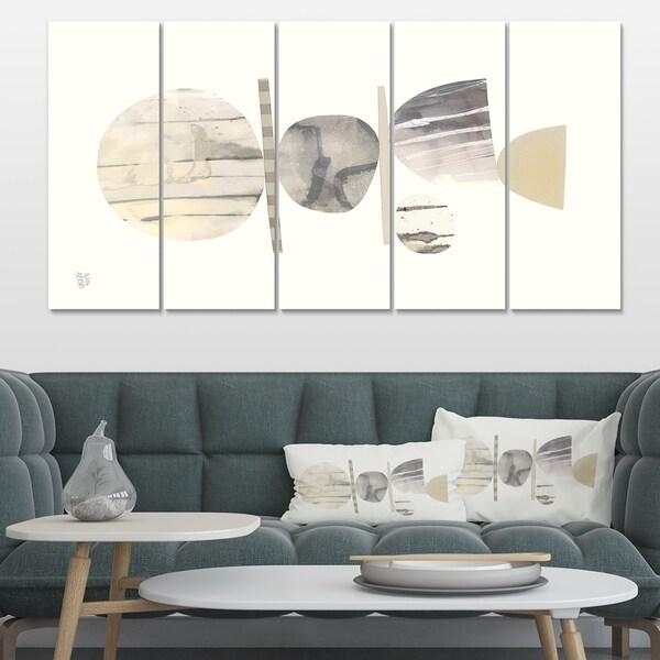 Designart 'Geometric Balance Neutral II' Shabby Chic Premium Canvas Wall Art