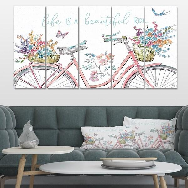 Designart 'Spring Bike Bouquet' French Country Canvas Artwork