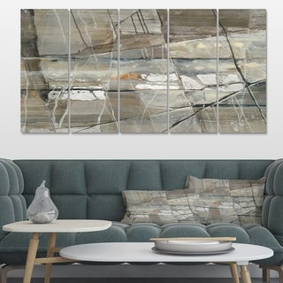 Designart 'Grey Silver Geometric Composition' Modern Canvas Art