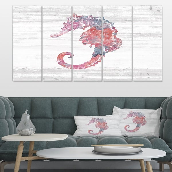 Designart 'Pink seahorses Ocean Life' Nautical & Coastal Premium Canvas Wall Art