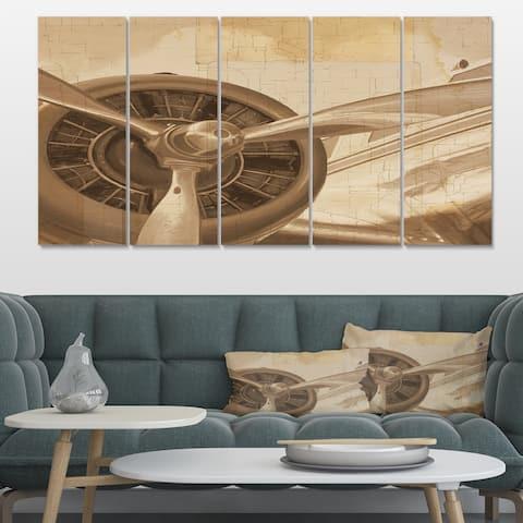 Designart 'Retro Airplanes Sepia' Vintage Transportation Canvas Art