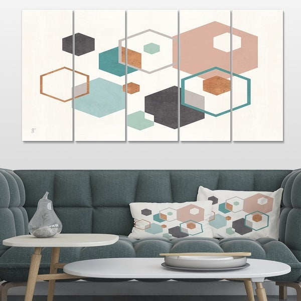 Designart 'Geometric hexagons Pattern VII' Transitional Gallery-wrapped Canvas