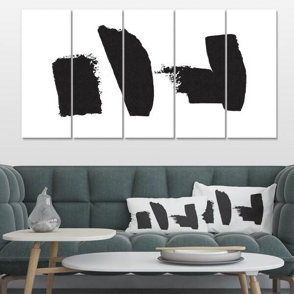 Designart 'Black and White Geometric Company I' Mid-Century Modern Premium Canvas Wall Art